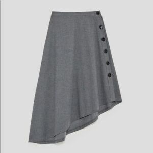 Zara Hi Low Grey Flannel Button-down Midi Skirt